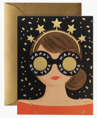 New Year Girl Card Greeting Card