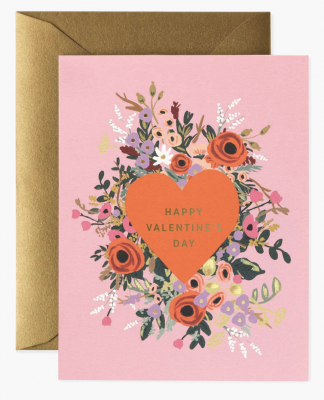 Blooming Heart Valentine Card Greeting Card