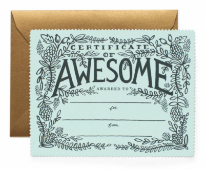 Certificate of Awesome Rifle Paper Co