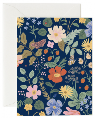 Strawberry Fields Navy Card Rifle Paper