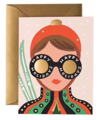 Ski Girl Card - Grußkarte