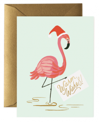 Holiday Flamingo Card - Greeting Card