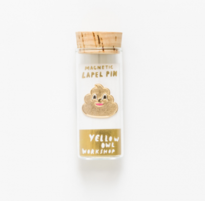 Gold Poo Emoji Lapel Pin Yellow