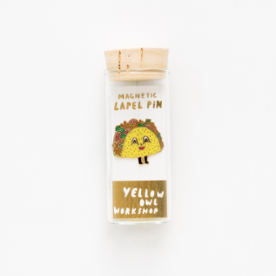 Taco Lapel Pin Yellow Owl Workshop