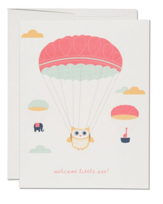 Owl Prachute Card - Red Cap Cards