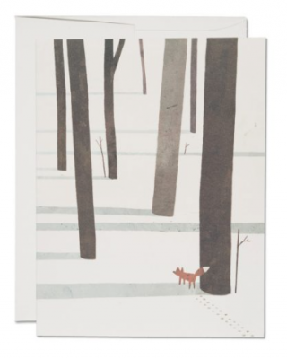 Fox in the Snow Card Red