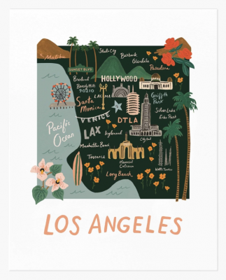 Los Angeles Map Art Print Rifle