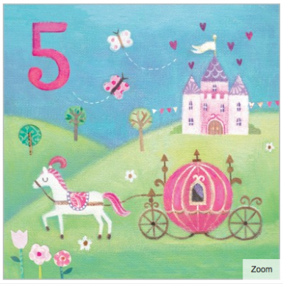 Princess Carriage Card - Age 5 Girl - Maddicott