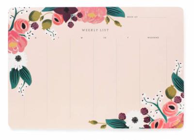 Pink Floral Weekly Deskpad Rifle Paper