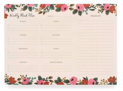 Rosa Weekly Meal Planner Wochen- Einkaufsplaner
