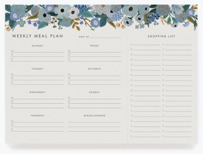 Garden Party Blue Meal Planner Wochen-