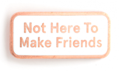 Not Here To Make Friends Pin - These Are Things