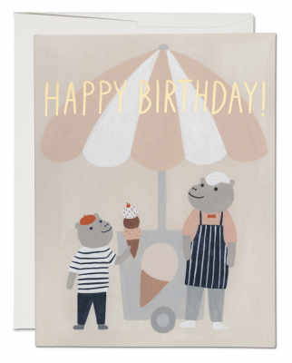 Ice Cream Hippos Card Red Cap