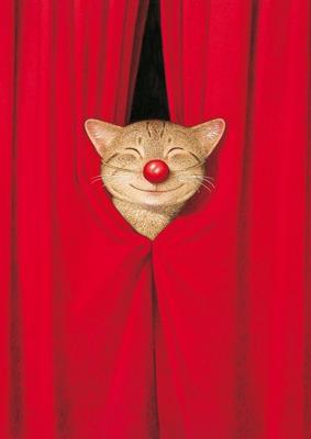Red Nose Cat Postkarte - Captain Card