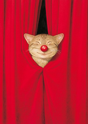 Red Nose Cat Postkarte Captain Card