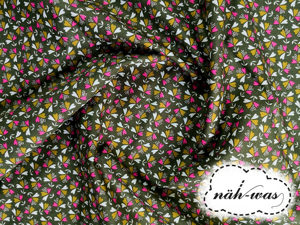 Muster Baumwollstoff Blümchen Muster grün