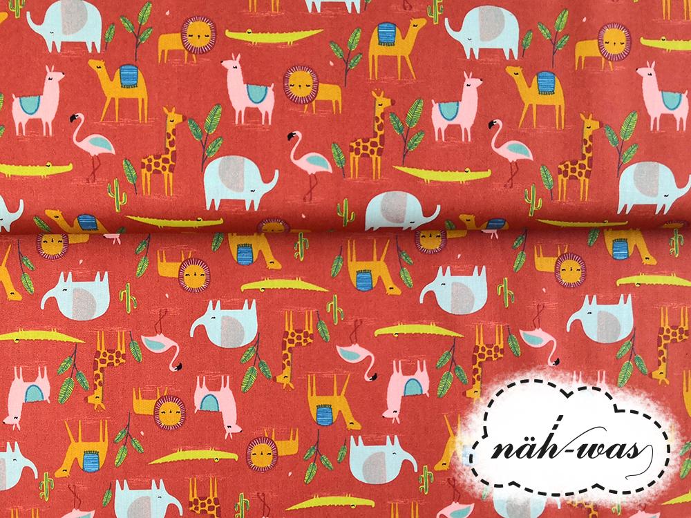 Safari Baumwollstoff Tiere Elefant Lama