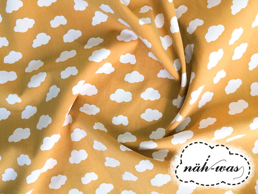 Muster Baumwollstoff Wolken gelb