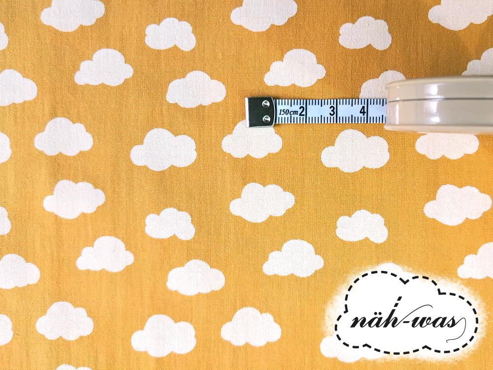 Muster Baumwollstoff Wolken gelb 2