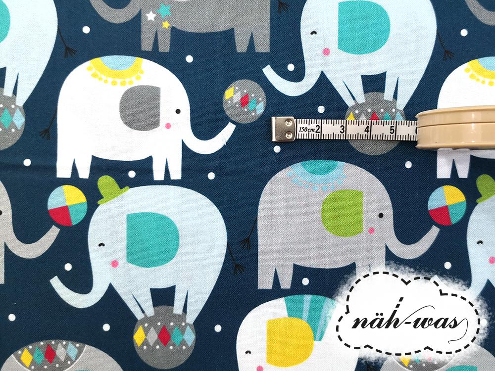 Zirkus Baumwollstoff BLEND Elefanten 2