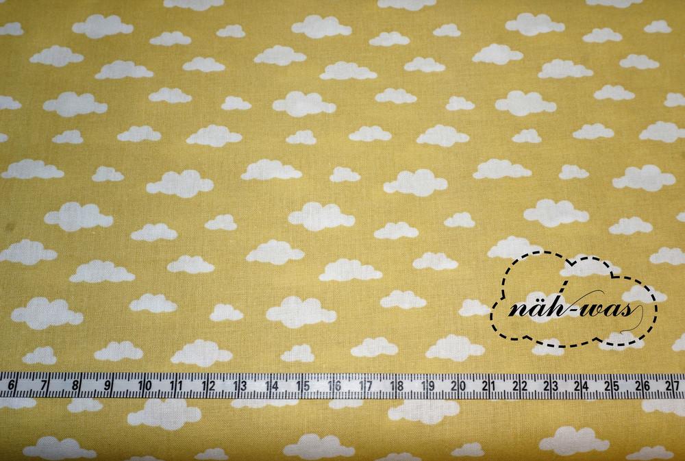 Wolken Baumwollstoff senf senfgelb 3