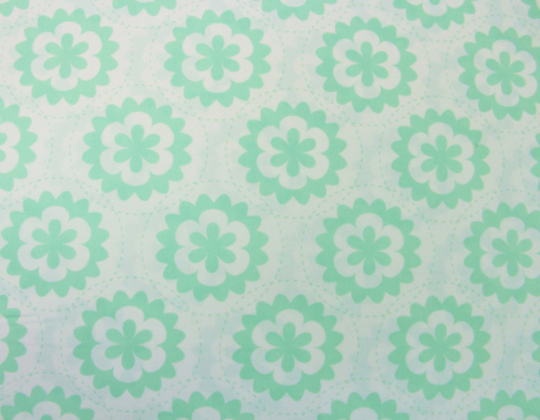 retro Blumen Stoff GEOMETRIC mint