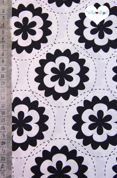 Geometric Blumen Stoff Schwarz Weiss Baumwollstoff Nah Was