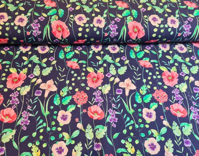 Blumen Sommersweat dunkelblau Flowers