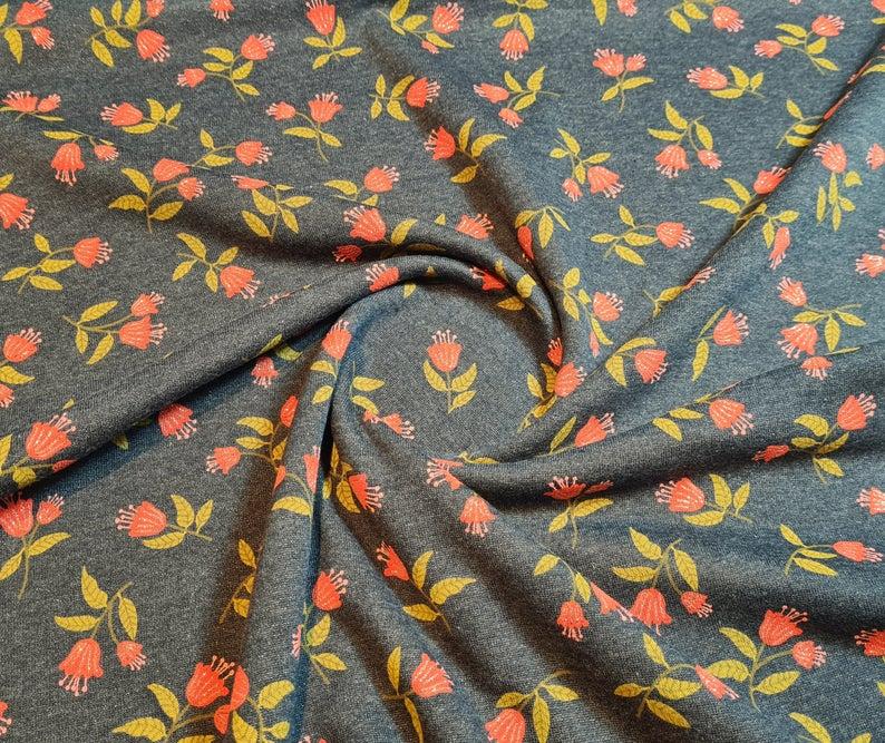 Blumen Sweat Blümchenmuster Sweat Stoff Blumen