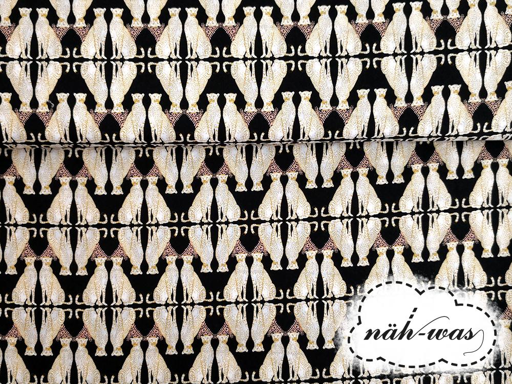 Camelot Fabrics schwarz Baumwollstoff Leopard Gepard