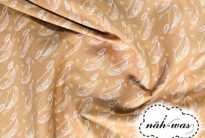 Muster Baumwollstoff Wale Walfische senf