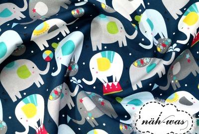 Zirkus Baumwollstoff BLEND Elefanten