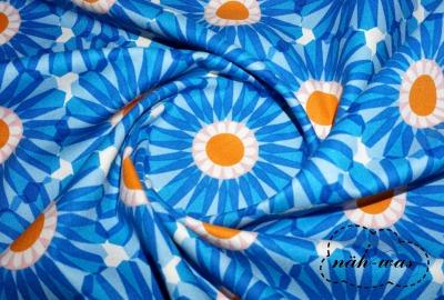 Cotton Steel orange blau Baumwollstoff