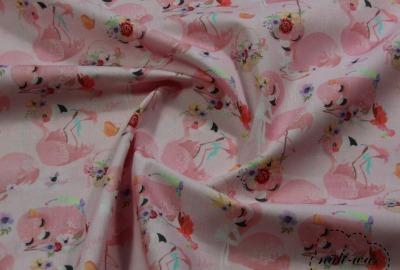Flamingo Baumwollstoff Flamingo and Flowers