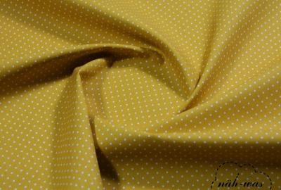 Punkte Baumwollstoff Pünktchen senf gelb