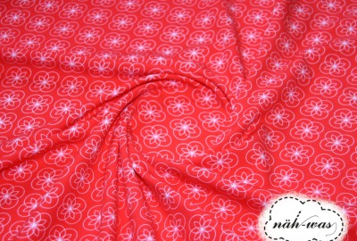 Blümchen Jersey Tante Ema rot weiß
