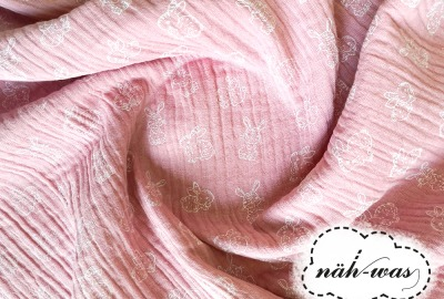 Musselin Hase rosa Double