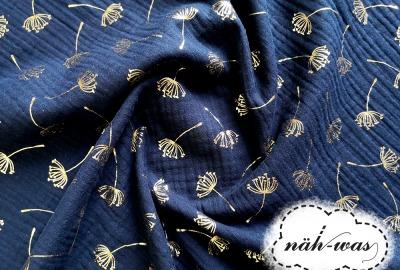 Musselin dunkelblau Pusteblume