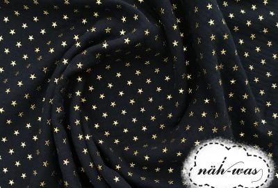 Musselin dunkelblau Sterne