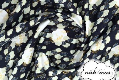 Camelot Fabrics dunkelblau gold Baumwollstoff Wolken
