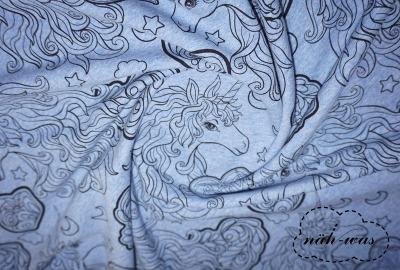 Einhorn French Terry Sommersweat jeansblau meliert