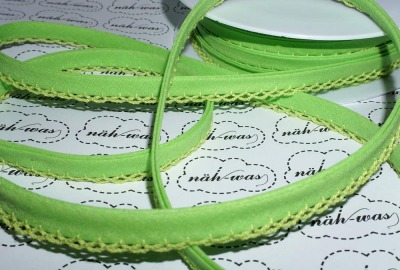 3m Schrägband hellgrün Häkelborte