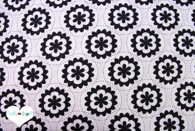 GEOMETRIC Blumen Stoff schwarz weiß Baumwollstoff