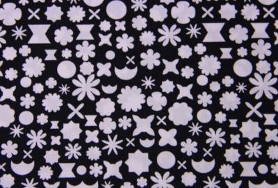mini GEO Blumen Stoff schwarz