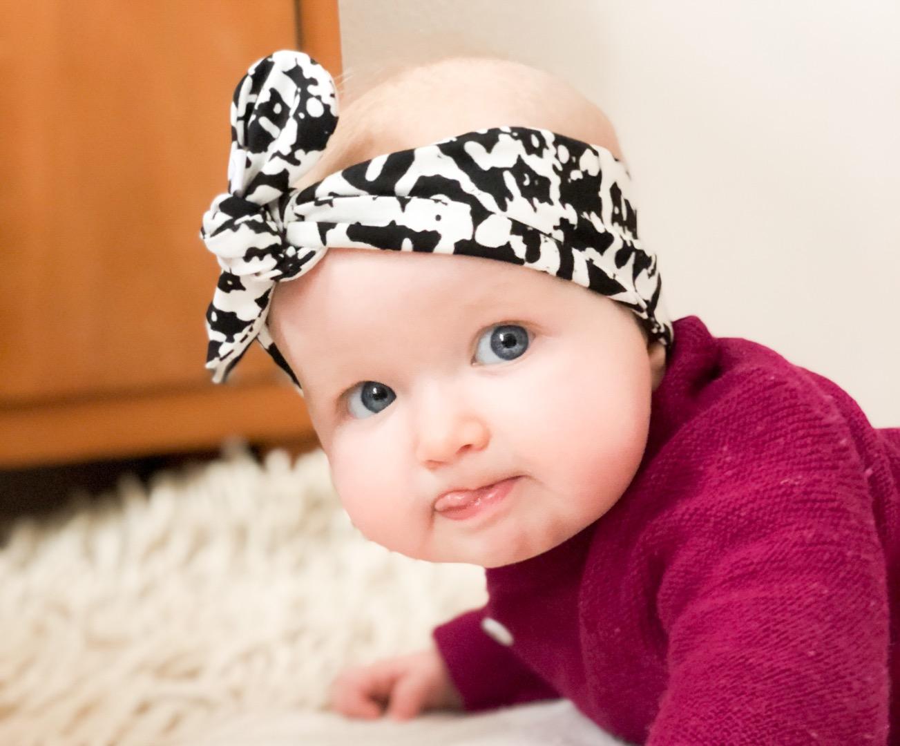 Haarband Baby schwarz weiß 4
