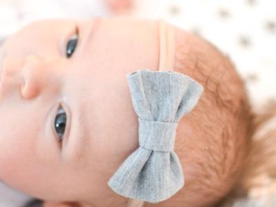 Stirnband Baby - Hellgrau meliert