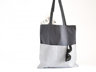 Shopper - Grau // Gestreift