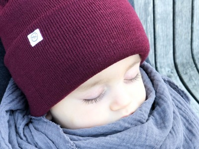 Kinder Beanie Strick - Burgundy