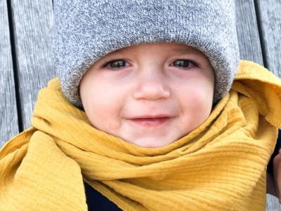 Kinder Beanie Strick - Hellgrau meliert