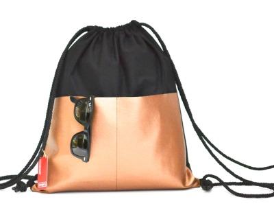 Turnbeutel - Fronttaschen Schwarz // Kupfer